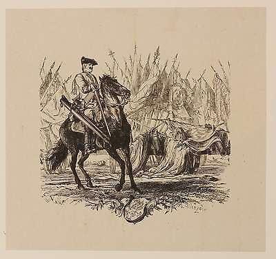 ADOLPH VON MENZEL - Ein Dragoner reitet vor den Trophäen - Holzstich 1845