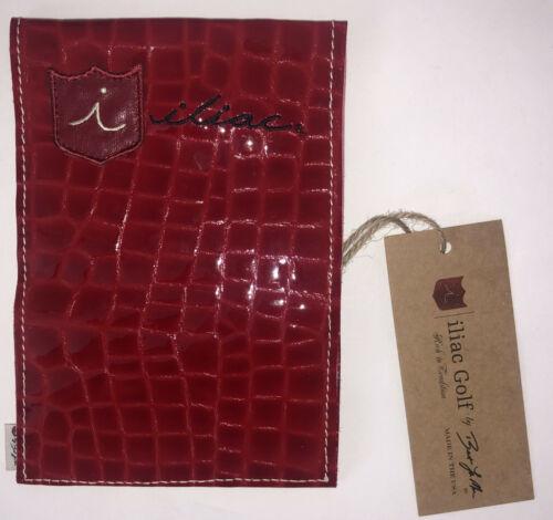 iliac Golf Yardage Book Scorecard Cover Red Leather Patent Croc Made in USA New