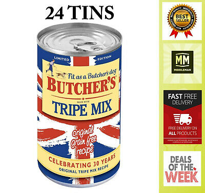 BUTCHER'S Wet Dog Food Tin Cans Grain Free Tripe Mix 24 x 400g Pet Omega 3, 6 UK