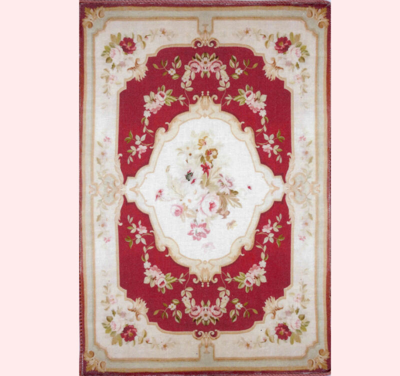 Dollhouse Miniature Artisan Made Aubusson Burgandy and Beige Area Rug