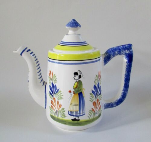 Henriot Quimper France Blue & White Teapot