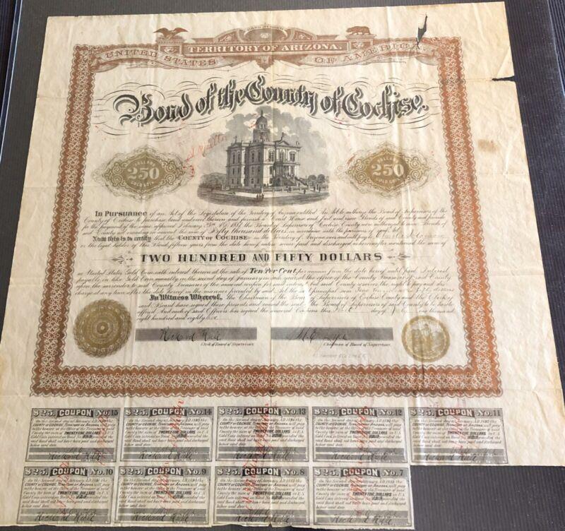 "$250 Gold Bond 1882 ARIZONA TERRITORY,''TOMBSTONE COURTHOUSE & JAIL"" 9 COUPONS"