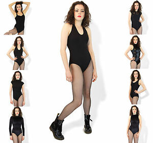 Womens-Bodysuit-Top-Black-Leotard-Fitted-Lycra-UK-Made-Cotton-Lycra-Wetlook