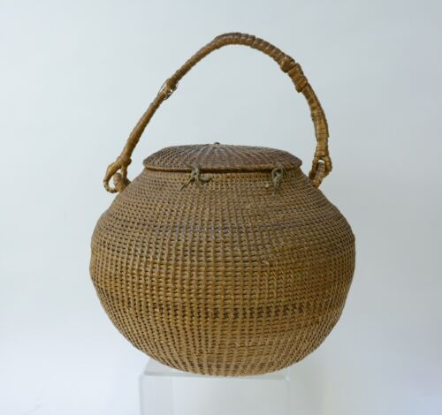 Early Lidded Paiute Indian Basket from Carlin NV 1868-1900 Nice Provenance