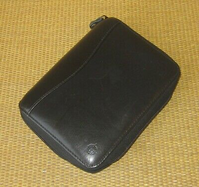 Pocket Franklin Covey Black Leather 1 Rings Zip Plannerbinder Spacemaker