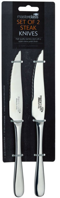 2 Master Class 22cm Polished Stainless Steel Serrated Edge Steak Knives / Knife