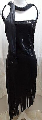 Paper Magic Group Halloween Costume Black Dress Sz S 4-6 Sequin Witch Fringe - 6 Group Halloween Costumes