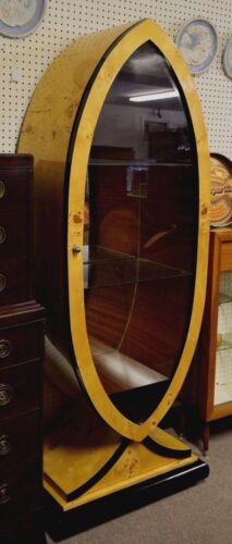 Vintage Art Deco Style Burlwood  Display Cabinet