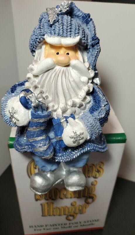 "Vintage Santa  Blue and Silver Stone Stocking Hanger In Original Packaging 7"""