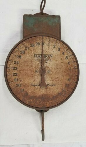 Vintage Hanson Dairy Scale 30 Lb. Metal Hanging Scale