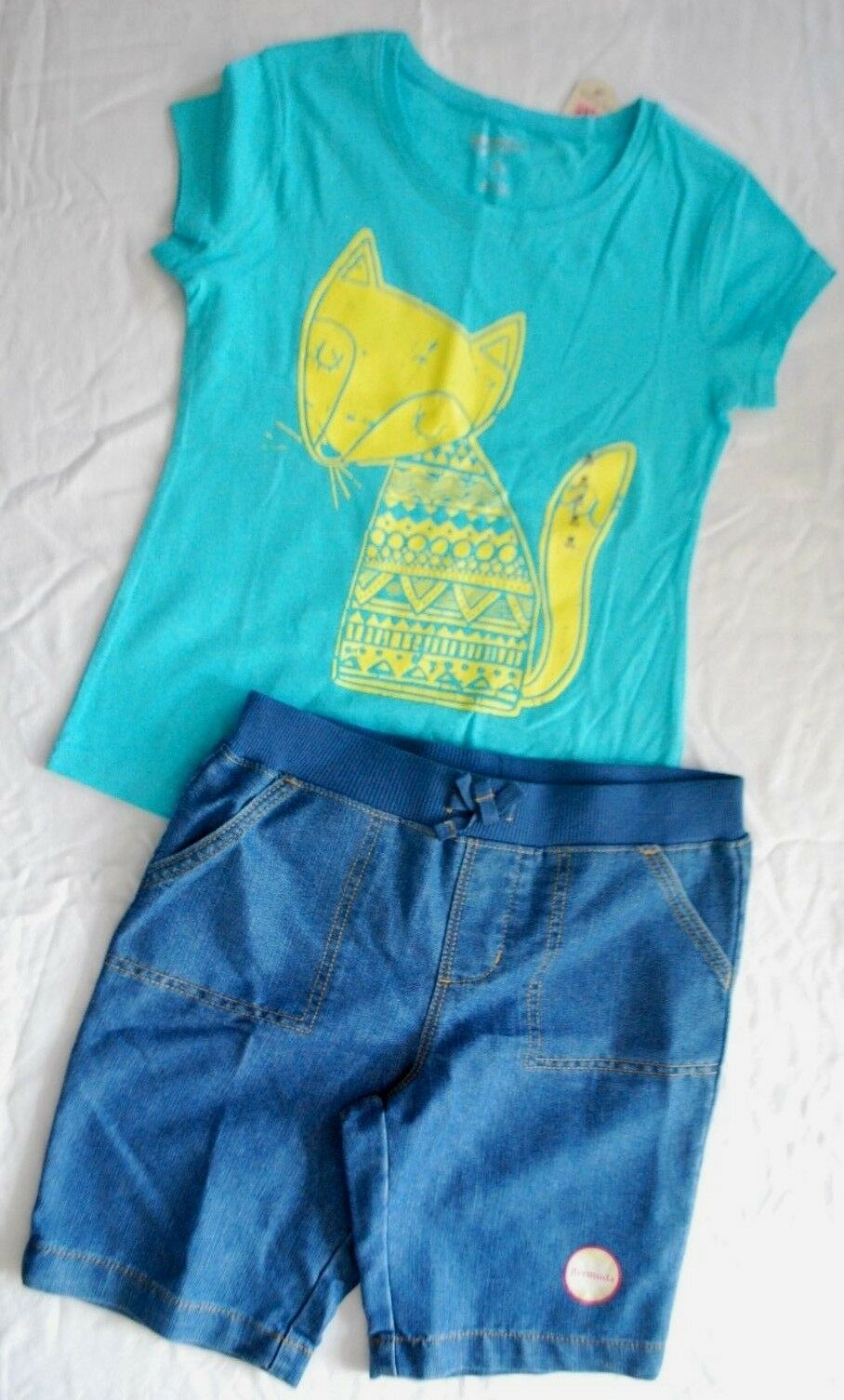GIRLS SIZE 10 12 FOX TOP & BERMUDA SHORT CLOTHING SET - NEW