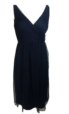 Jenny Yoo Womens Bridesmaid Formal Short Dress Size 4 Sleeveless Blue Luxe Color