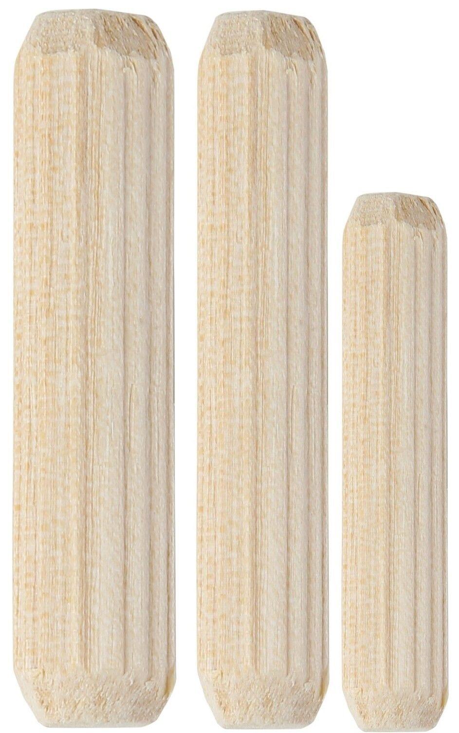 200 Stk. Holzdübel, Buche, Riffeldübel, Holzstifte - 6x35 mm, 8x35 mm, 10x45mm