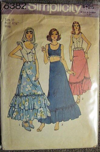 Vtg 1974 Simplicity Scoop Neck Midriff Top & Ruffle Long Skirt Pattern 6382 Sz10