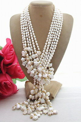 pearl Loop necklace White Rice Pearl Keshi Pearl Long Necklace 50