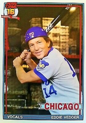2016 PEARL JAM//Eddie Vedder Wrigley Field Chicago Cubs Baseball Jersey Bat Card