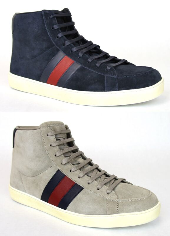 0e56ff49a New Authentic Gucci Mens Suede High-top Sneaker w/BRB Leather Web Detail,