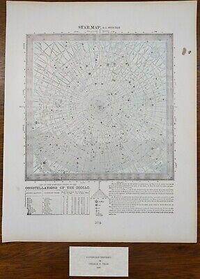 Vintage 1900 STAR MAP #5 NORTH POLAR ~ Old Antique Original CONSTELLATIONS