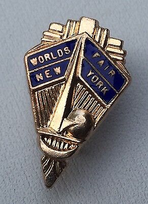 Rare Vintage Enamel 1939 NEW YORK WORLD'S FAIR Lapel Pin - TRYLON & PERISPHERE