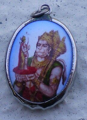 Hindu Deity Pendant Metal and Enamel HANUMAN w/ Blue Background