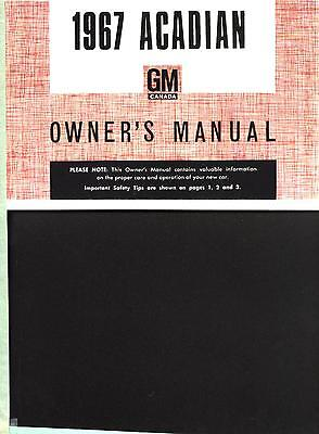 1967 ACADIAN OWNERS MANUAL(CANADIAN NOVA-SIZED PONTIAC) - NEW, UNRESERVED!!