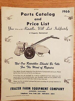 Farm Equipment Parts - 1966 Frazer Farm Equipment Co. Parts Catalog Price List - Rototillers