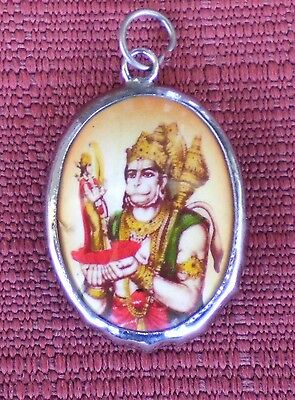 Hindu Deity Pendant Metal and Enamel HANUMAN w/ Brown Background