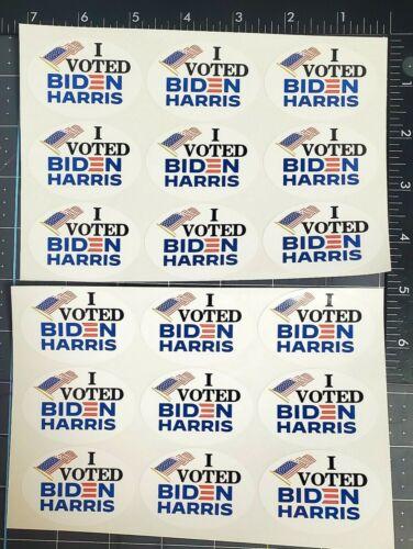 """I Voted Biden Harris 18-Piece ~2.25 x 1.5"""" Oval Photo Paper Sticker Sheet"""