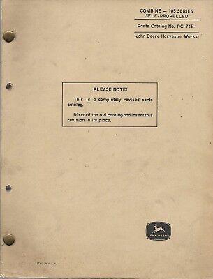 John Deere Combine Series 105 Self Propelled Parts Catalog Pc-746