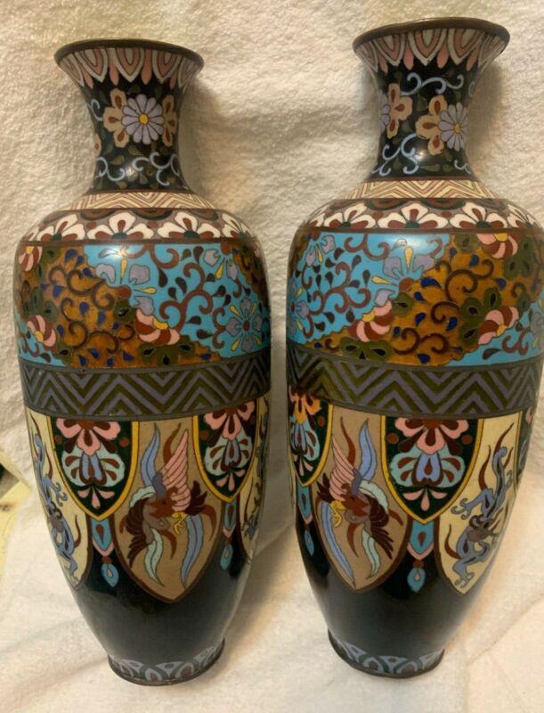 "Pair of 19th century vase cloisonné dragon bird motif Japan 11.5""H"