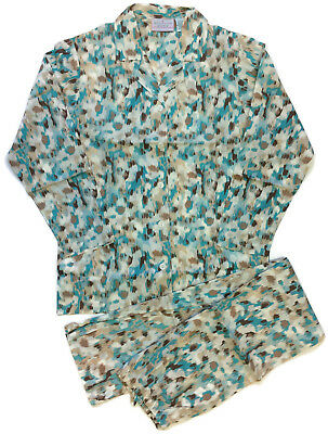 Allison Rhea Tan Teal Leopard Pajamas for Women 100% - Pajamas For Adults