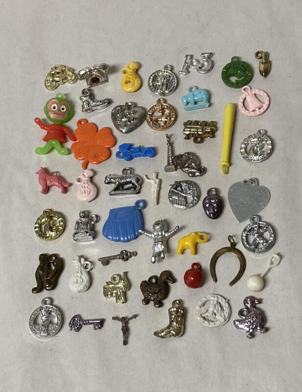 50 Vintage Gumball Toys Vending Charms Plastic Charms & Prizes Cracker Jacks