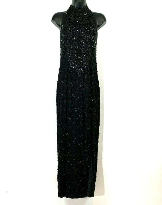 Adrianna Papell Evening dress 10 P Black Gown formal beaded long maxi cocktail