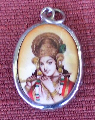 Hindu Deity Pendant Metal and Enamel KRISHNA w/ Brown Background