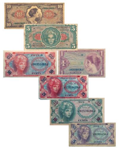 7-Piece Set - U.S. Military Payment Certificates Vietnam-Era Series 641 SKU54010