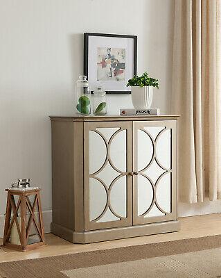 Kings Brand Furniture - Wood 2-Door Buffet Accent Chest Cabinet, Antique Gold 2 Door Buffet