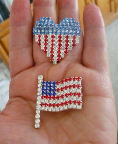 2 Great Rhinestone Flag Pins - USA Flag Heart Pin and USA American Flag Pin