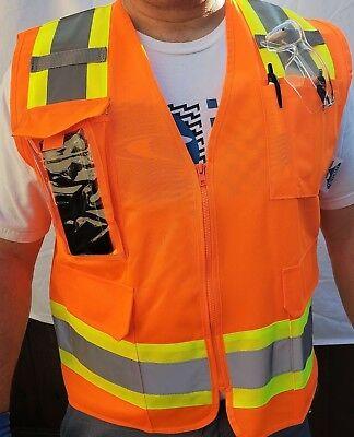 Surveyor Orange Vest Ansi Isea 107-2015 Photo Id Pocket Small To 5x-large