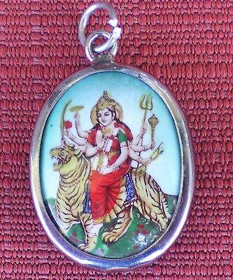 Hindu Deity Pendant Metal and Enamel DURGA w/ Green Background