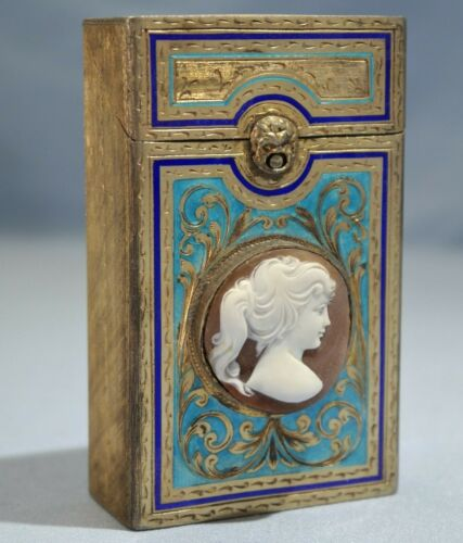 Italian 800 Parcel Gilt Silver & Enamel Hinged Card Case/Box Goddess Cameo