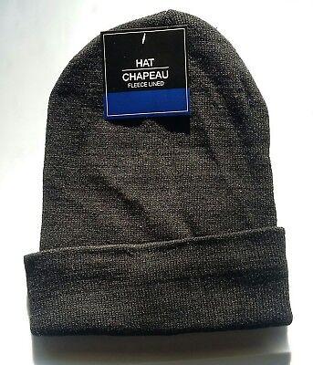 BLACK FLEECE LINED Mens Womens KNIT CUFF Beanie Hat Watch Cap Warm Winter NWT
