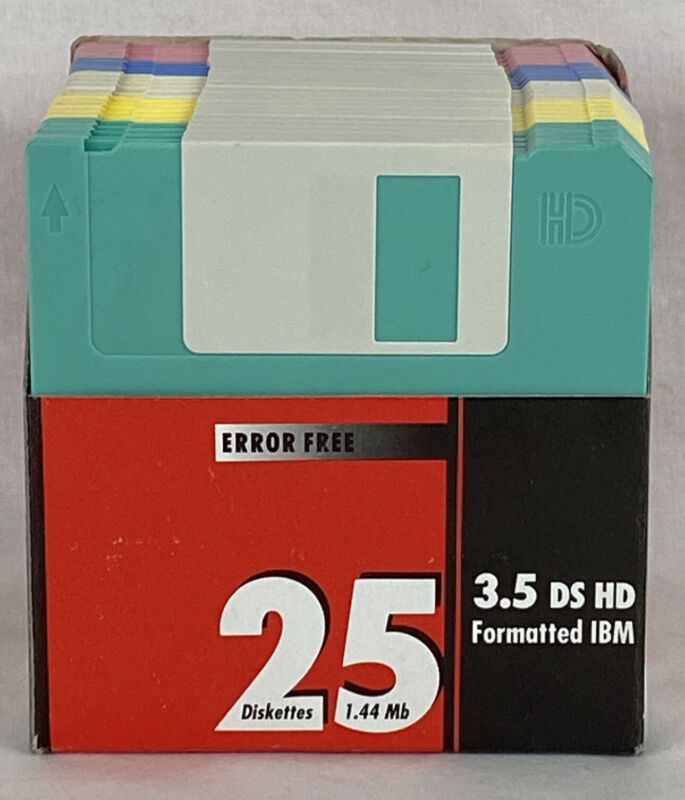3.5″ DS HD  FLOPPY DISKS DISKETTES 25-PACK 1.44 MB 5 COLORS IBM FORMATTED