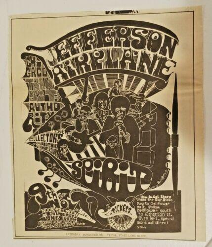 Vintage Ad Jefferson Airplane 1968 Iron Butterfly CCR LA FREE PRESS Unframed