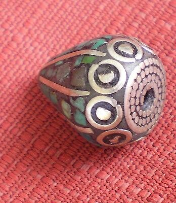 Tibetan-Style Natural Turquoise Drilled Bead with Silver Caps Teardrop Shape