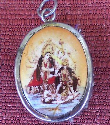 Hindu Deity Pendant Metal and Enamel KALI & DURGA w/ Brown Background
