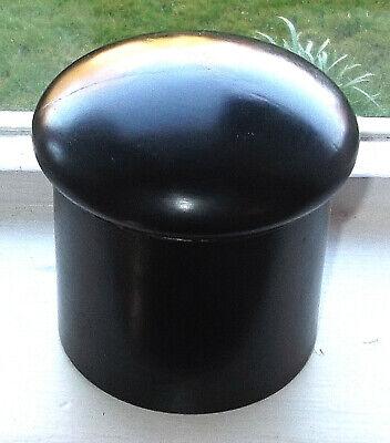 ANTIQUE TEA CADDY 19th CENTURY HARDWOOD EBONY SMALL ROUND SCREW LID