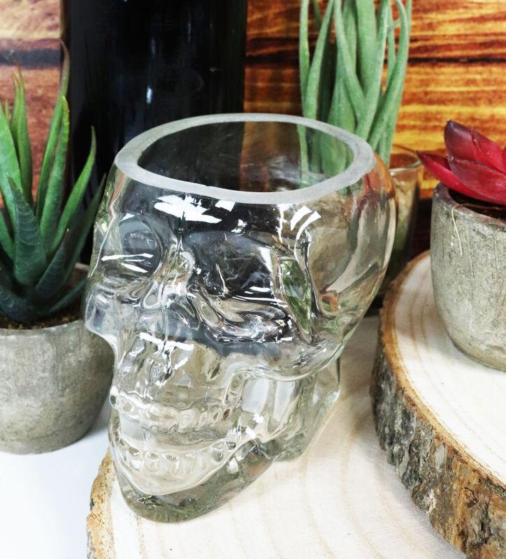 Ebros Skeleton Skull Glass Bowl Drink Stationery Office Holder Figurine Statue