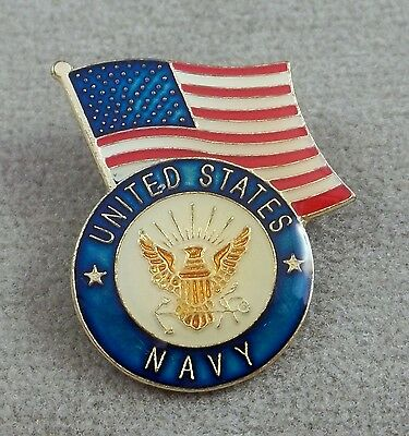 United States Navy Logo With The American Flag  Pin  / Clutchback