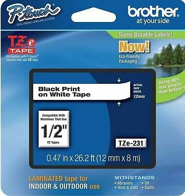 Genuine Brother Tze-231 12 Black On White P-touch Tz Tape