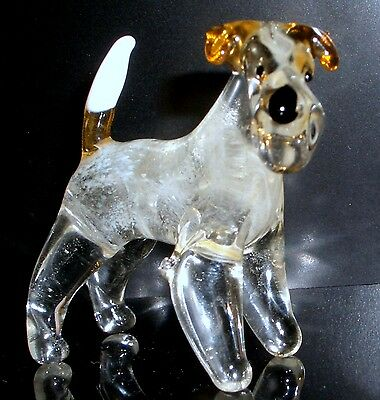 "HAND BLOWN ""MURANO"" GLASS COLLECTABLE FOX TERRIER DOG  FIGURINE"